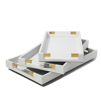 Set of 3 White Faux Leather Decorative Trays, , default