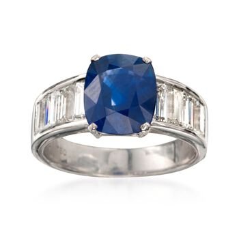 C. 1990 Vintage 3.73 Carat Sapphire and 1.60 ct. t.w. Diamond Ring in 18kt White Gold. Size 7, , default