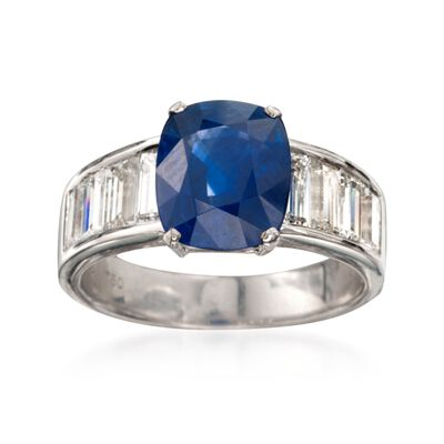 C. 1990 Vintage 3.73 Carat Sapphire and 1.60 ct. t.w. Diamond Ring in 18kt White Gold, , default
