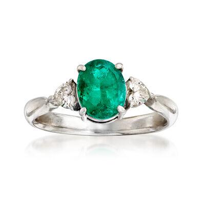 C. 2000 Vintage 1.42 Carat Emerald and .30 ct. t.w. Diamond Heart Ring in Platinum, , default