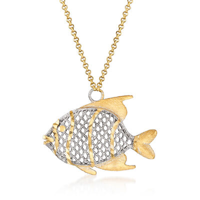 Italian 18kt Two-Tone Goldfish Necklace, , default