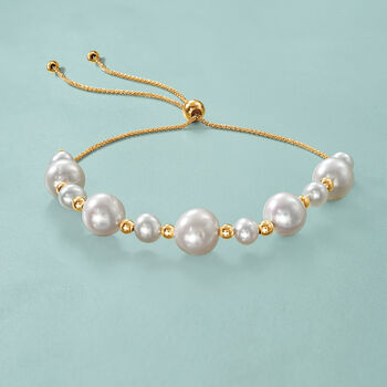 5-9mm Cultured Pearl and 14kt Yellow Gold Bead Bolo Bracelet, , default