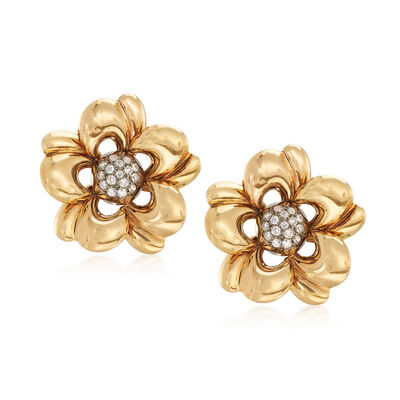 C. 1950 Vintage .90 ct. t.w. Diamond Floral Earrings in 18kt Yellow Gold , , default
