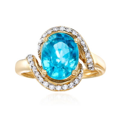 C. 1980 Vintage 4.10 Carat Blue Zircon and .30 ct. t.w. Diamond Ring in 14kt Yellow Gold, , default