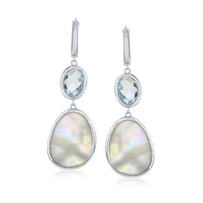 Mother-Of-Pearl and 4.50 ct. t.w. Blue Topaz Hoop Drop Earrings in Sterling Silver, , default