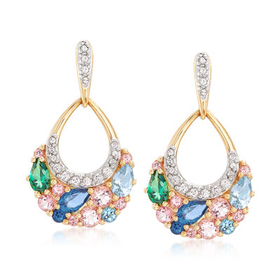 2.70 ct. t.w. Swarovski Genuine Multicolored Topaz Drop Earrings in 18kt Gold Over Sterling