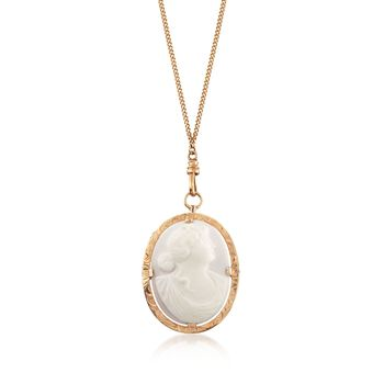 """C. 1950 Vintage White Gate Cameo Pin Pendant Necklace in 10kt and 14kt Yellow Gold. 46"""", , default"""