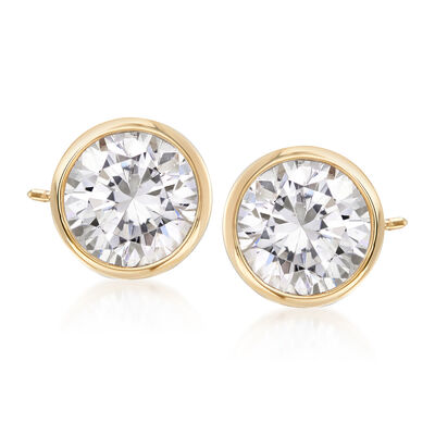 2.00 ct. t.w. Bezel-Set CZ Stud Earrings in 14kt Yellow Gold