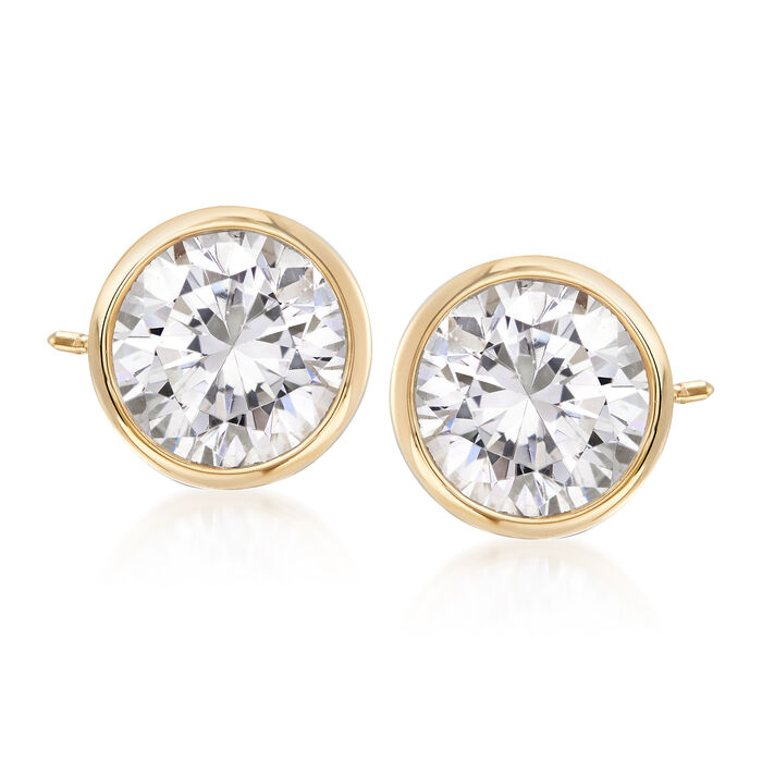 2.00 ct. t.w. Bezel-Set CZ Stud Earrings in 14kt Yellow Gold