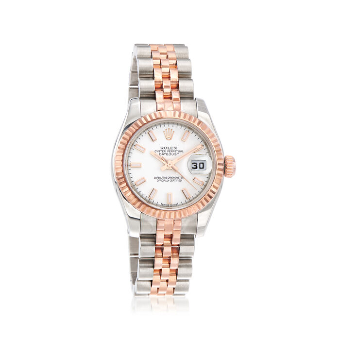 Pre-Owned Rolex Datejust Women's 26mm Automatic Stainless Steel Watch with 18kt Rose Gold, , default