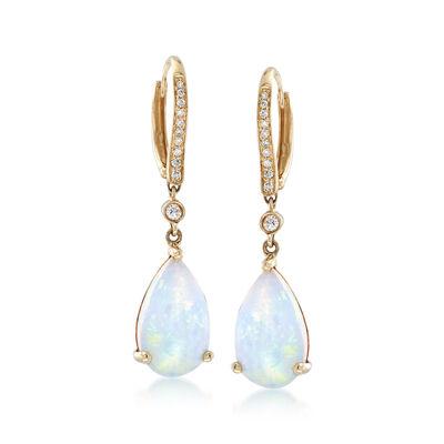 Ethiopian Opal and .18 ct. t.w. Diamond Drop Earrings in 14kt Yellow Gold, , default