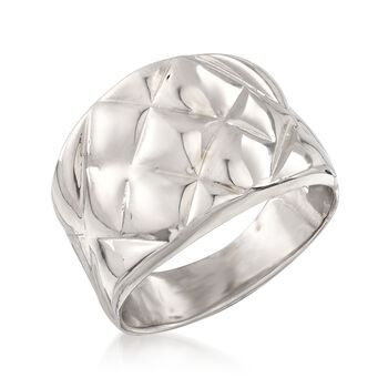 Italian Sterling Silver Quilted-Top Ring