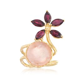 Rose Quartz and 3.70 ct. t.w. Rhodolite Garnet Flower Ring in 18kt Gold Over Sterling Silver, , default