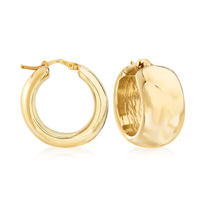 Italian 18kt Yellow Gold Wide Hoop Earrings, , default