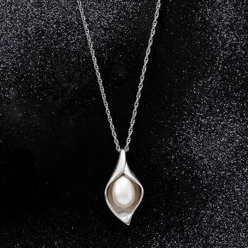 6.5-7mm Cultured Pearl Teardrop Pendant Necklace in Sterling Silver, , default