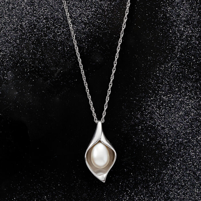 6.5-7mm Cultured Pearl Teardrop Pendant Necklace in Sterling Silver
