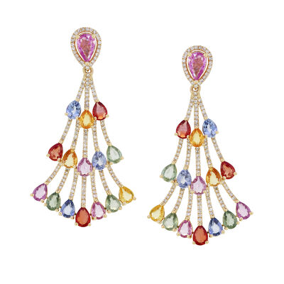 6.90 ct. t.w. Multicolored Sapphire and .61 ct. t.w. Diamond Chandelier Earrings in 18kt Yellow Gold