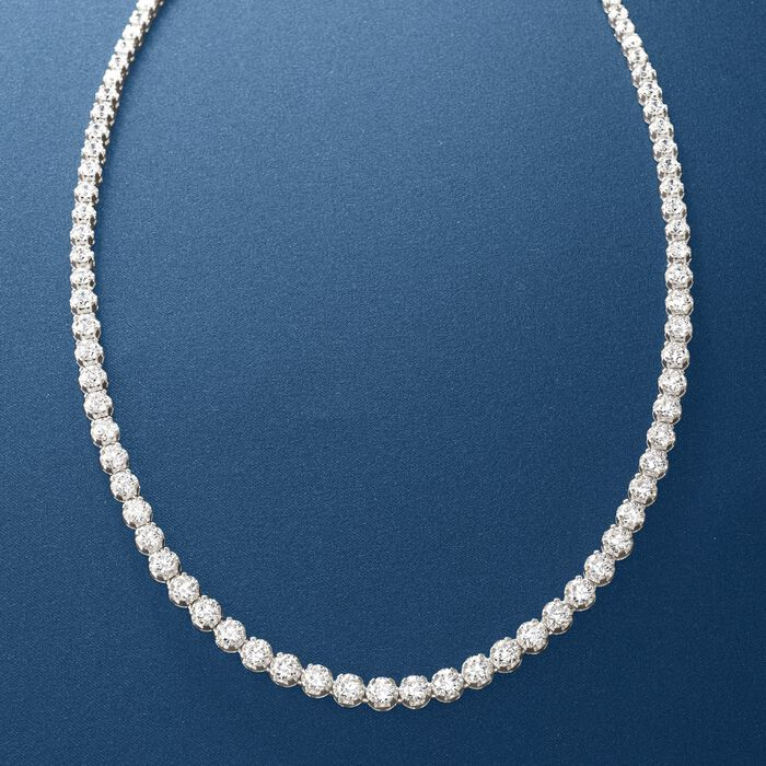 15.00 ct. t.w. Graduated CZ Tennis Necklace in Sterling Silver