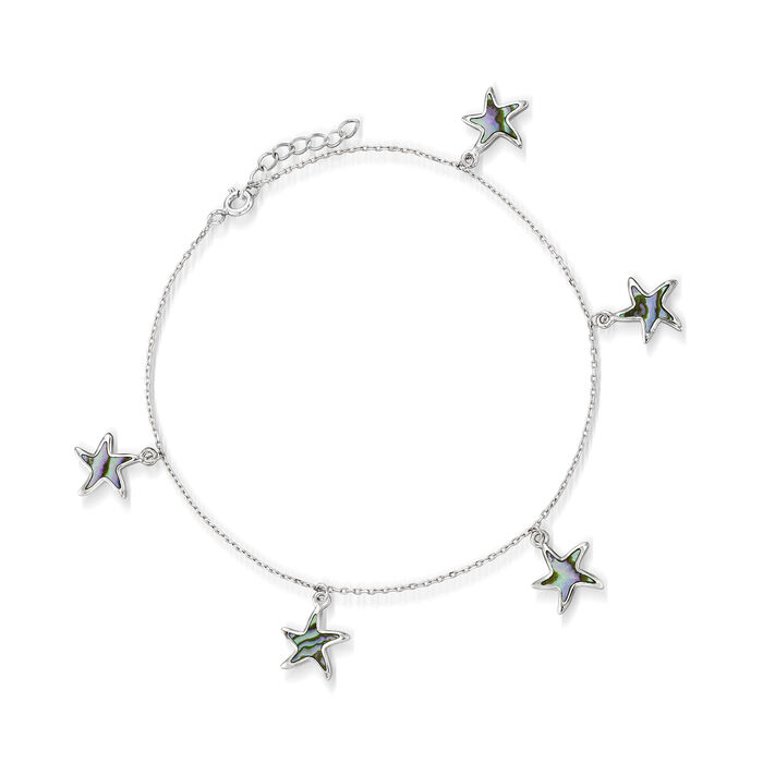 Multicolored Abalone Shell Star Anklet in Sterling Silver