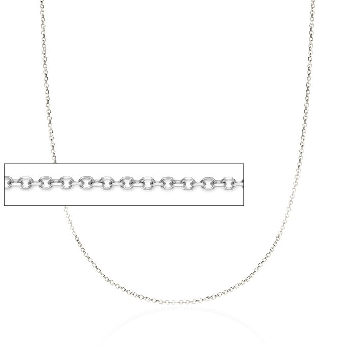 "1.5mm 14kt White Gold Diamond-Cut Cable Chain Necklace. 18"", , default"
