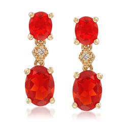 Orange Opal Drop Earrings in 14kt Yellow Gold, , default