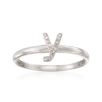"Diamond Accent Mini Initial ""Y"" Ring in Sterling Silver, , default"