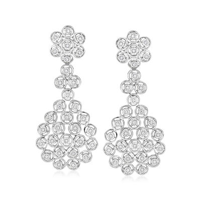 .50 ct. t.w. Diamond Multi-Circle Drop Earrings in Sterling Silver, , default