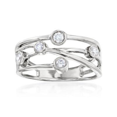 .25 ct. t.w. Diamond Crisscross Ring in Sterling Silver