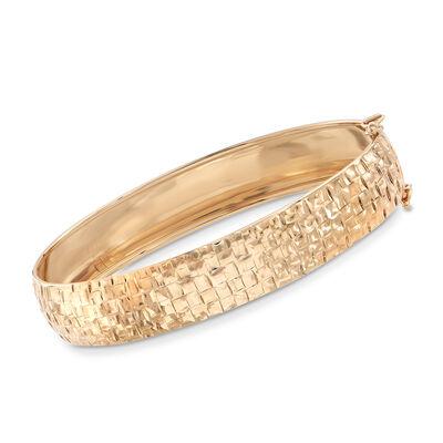 Italian 14kt Yellow Gold Checkered Bangle Bracelet, , default
