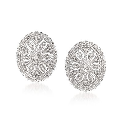 .20 ct. t.w. Diamond Vintage-Style Earrings in Sterling Silver, , default