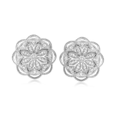 .50 ct. t.w. Diamond Openwork Flower Earrings in Sterling Silver