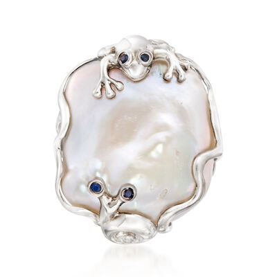 Cultured Baroque Pearl Critter Ring with Sapphire Accents in Sterling Silver, , default