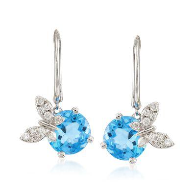 4.90 ct. t.w. Blue Topaz and .21 ct. t.w. Diamond Butterfly Drop Earrings in 14kt White Gold, , default