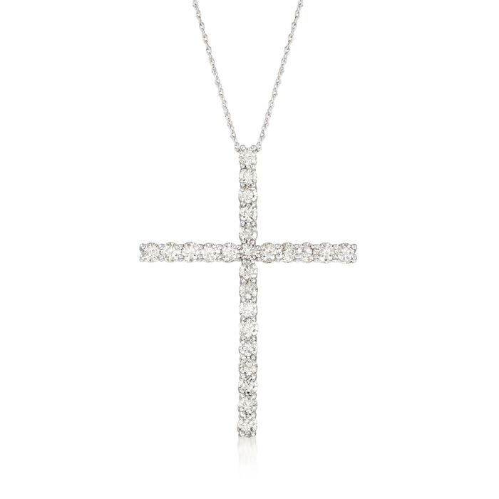 "2.00 ct. t.w. Diamond Cross Pendant Necklace in 14kt White Gold. 18"", , default"