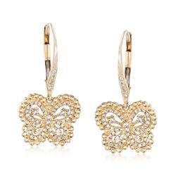 .40 ct. t.w. Diamond Butterfly Drop Earrings in 14kt Yellow Gold, , default