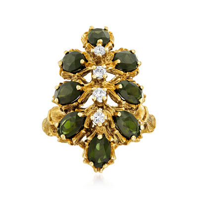 C. 1970 Vintage 3.20 ct. t.w. Green Tourmaline and .25 ct. t.w. Diamond Cluster Ring in 14kt Yellow Gold, , default