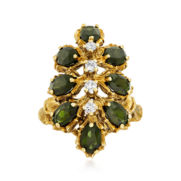 C. 1970 Vintage 3.20 ct. t.w. Green Tourmaline and .25 ct. t.w. Diamond Cluster Ring in 14kt Yellow Gold. Size 7.5, , default