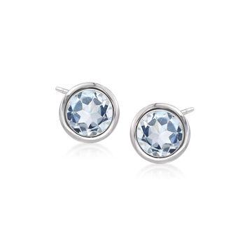 2.00 ct. t.w. Bezel-Set Blue Topaz Stud Earrings in Sterling Silver , , default