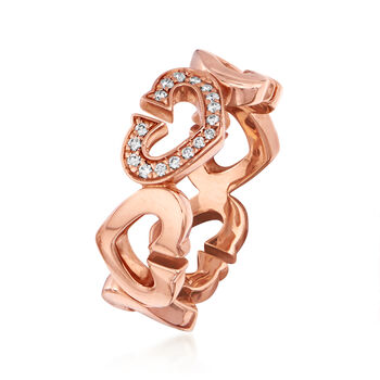 C. 1990 Vintage Cartier .12 ct. t.w. Diamond Heart Ring in 18kt Rose Gold. Size 6