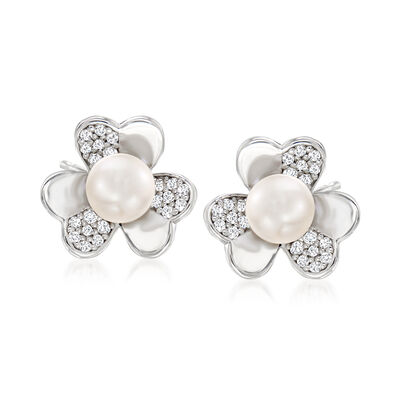 7mm Cultured Pearl and .50 ct. t.w. White Topaz Clover Earrings in Sterling Silver