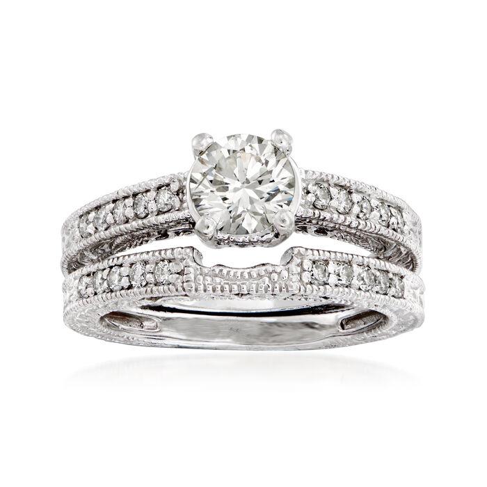 C. 1990 Vintage 1.18 ct. t.w. Diamond Bridal Set: Engagement and Wedding Rings in 14kt White Gold