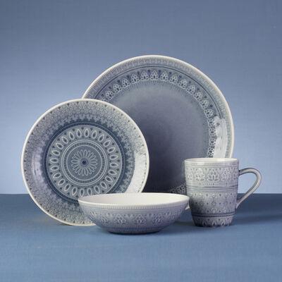 Fez Gray Stoneware 16-pc. Service for 4 Dinnerware Set, , default