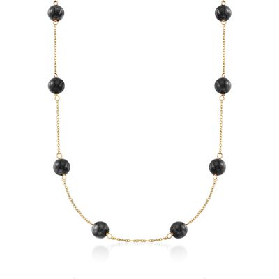 Black Onyx Bead Station Necklace in 14kt Yellow Gold