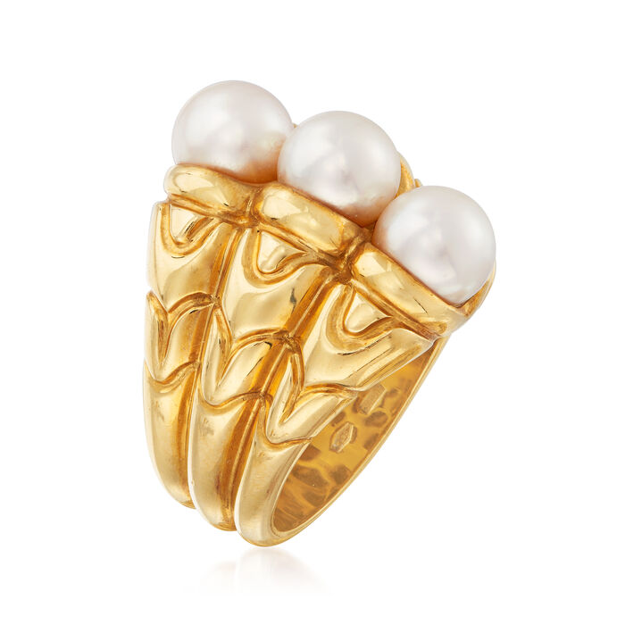 C. 1980 Vintage Bulgari 7mm Cultured Pearl Ring in 18kt Yellow Gold