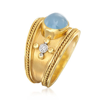 Mazza 3.22 ct. t.w. Aquamarine and .10 ct. t.w. Diamond Ring in 14kt Yellow Gold. Size 7, , default