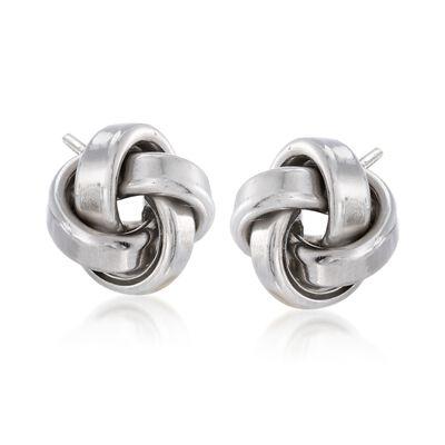 Italian Sterling Silver Love Knot Stud Earrings, , default