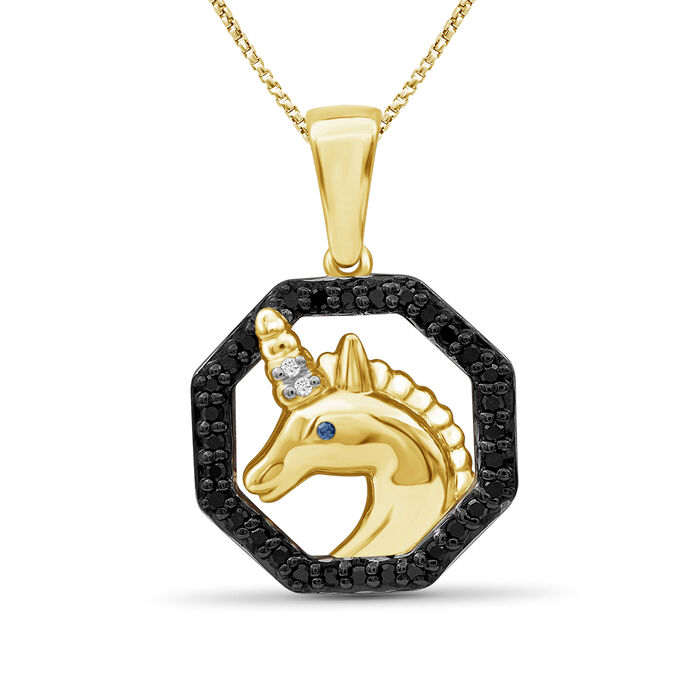 ".15 ct. t.w. Black and White Diamond Unicorn Pendant Necklace in 18kt Yellow Gold Over Sterling Silver. 18"", , default"