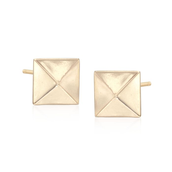 14kt Yellow Gold Pyramid Stud Earrings, , default