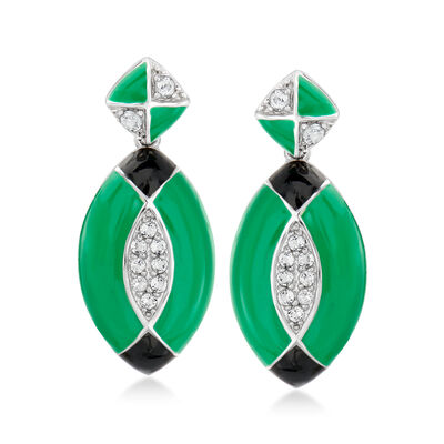 .30 ct. t.w. White Topaz Drop Earrings with Black and Green Enamel in Sterling Silver