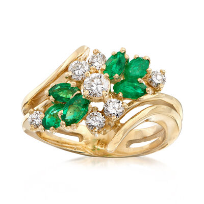 C. 1980 Vintage .50 ct. t.w. Emerald and .75 ct. t.w. Diamond Cluster Ring in 18kt Yellow Gold, , default